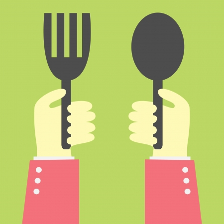 hand holding spoon and fork Vector