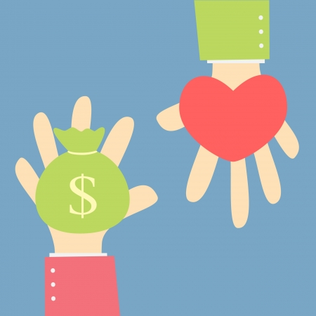 woman holding money: give money for love Illustration