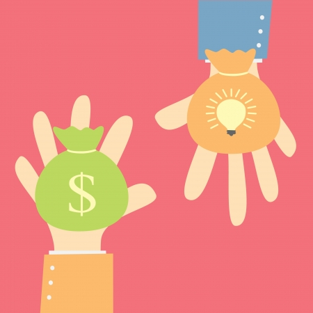 cash cycle: give money for idea Illustration