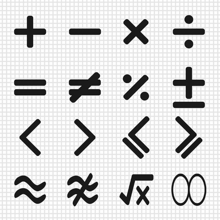 minus sign: math icons design set Illustration