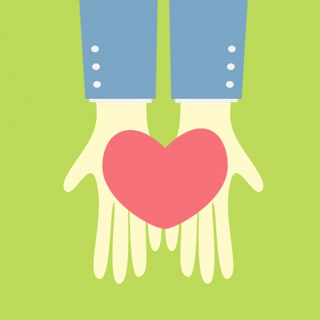 hand giving my heart Vector