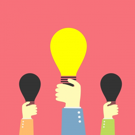 hand holding up lighting bulb idea Vector