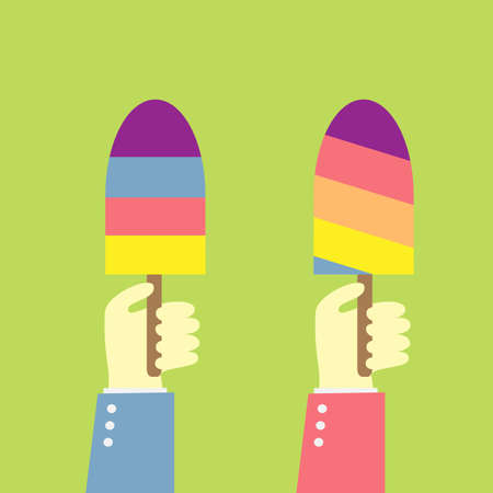 hand holding ice cream Vector