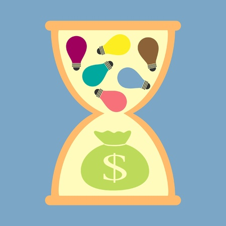 hourglass idea for money in future Vector