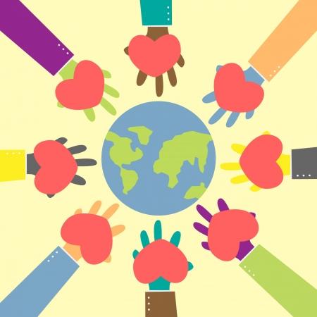 paz mundial: la mano del hombre abstracto coraz�n dar para abrazar el mundo Vectores