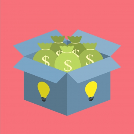 moneybag in idea bulb box Vector