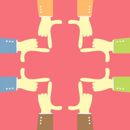 idea teamwork focus with  hand plus shape Vector