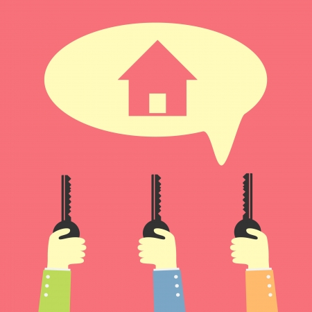 hand holding key for dream house Vector