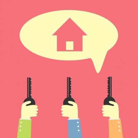hand holding key for dream house Stock Vector - 21076511
