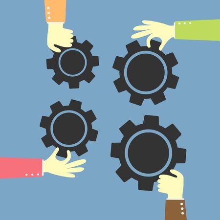 teamwork idea   gear Vector