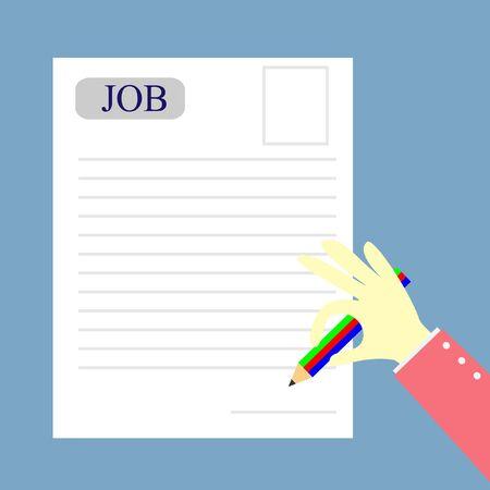human writing a job form Illustration