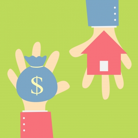 お金交換ホーム  イラスト・ベクター素材