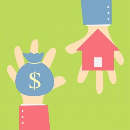intercambio de dinero a casa Ilustración de vector