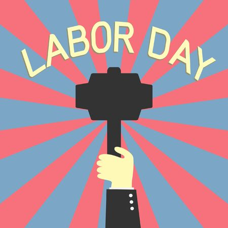 labor strong: hand holding up hammer in labor day concept Illustration