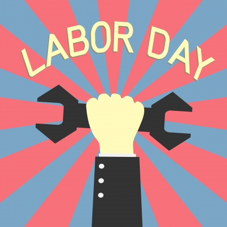 hand holding up wrench in labor day concept Vector