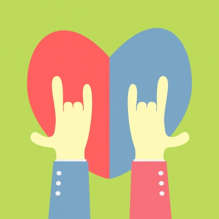 two hand showing love shape with heart background Vector