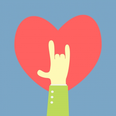 hand showing love shape with heart background Vector