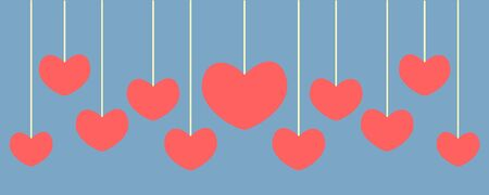 set of heart banner Vector
