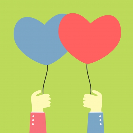 unusual valentine: two hand holding a balloons of love