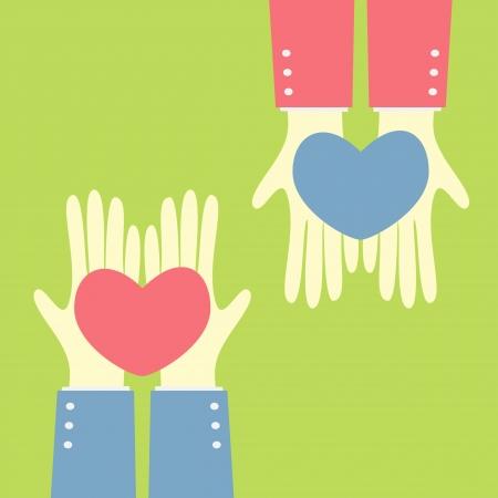 手を心臓に与える  イラスト・ベクター素材