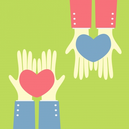 giving: hand give heart to heart