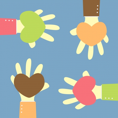 four hand give heart for any people
