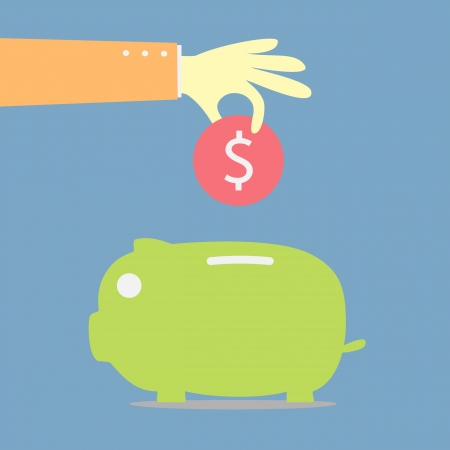 hand saving coin in piggybank Illustration