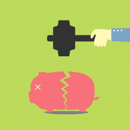 hand holding a hammer take a piggy bank Illustration