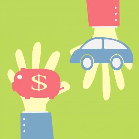 soñar carro: dar a ahorrar dinero en la hucha para comprar coche Vectores