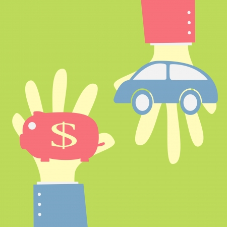 cartoon money: give money saving in piggy bank for buy car Illustration