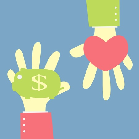 rich couple: give money saving in piggy bank for love
