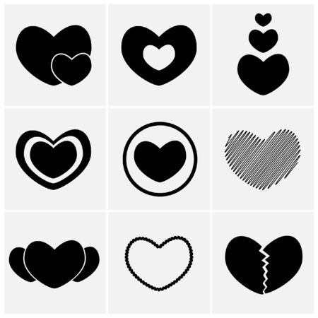 broken love: set of heart icon