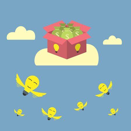 bulb idea flying to success money box Vector