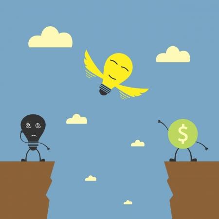 idea bulb flying to money Illustration