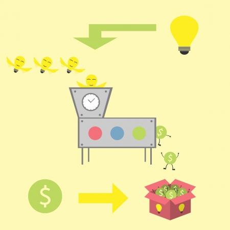ideebol vliegen naar tijdmachine Vector Illustratie