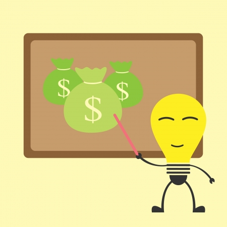 idea bulb teaching for get a money Vector