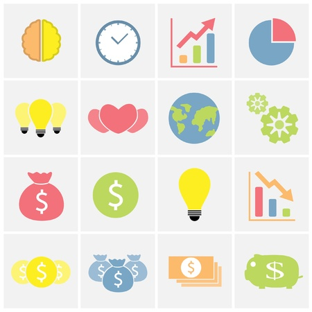 brain icon: set of colorful business icons  Illustration
