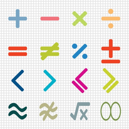 divisions: colorful of math icons design set