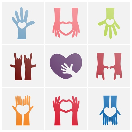 colorful of hand and heart concept icon set  Illustration