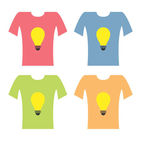 t bulb: set of idea bulb shirt Illustration