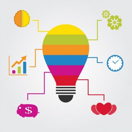 idea bulb and icon set info Illustration