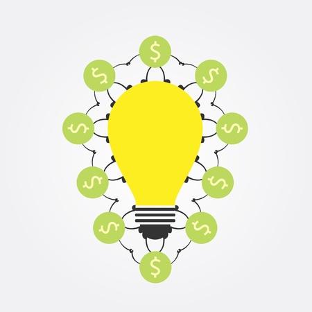 money around idea bulb Illustration
