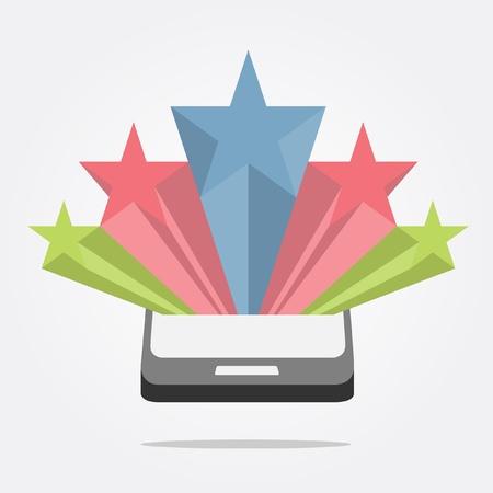 pop up: ster symbool pop-up van mobiele Stock Illustratie