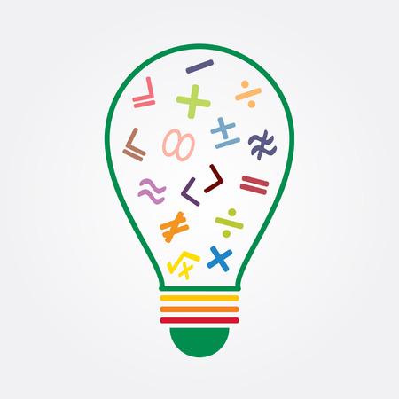 math icon: math symbol in idea bulb