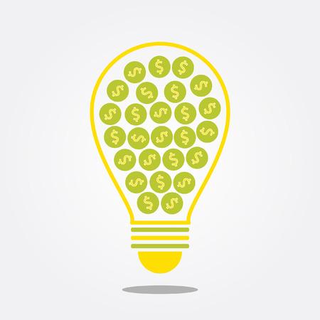 money symbol in idea bulb Vector