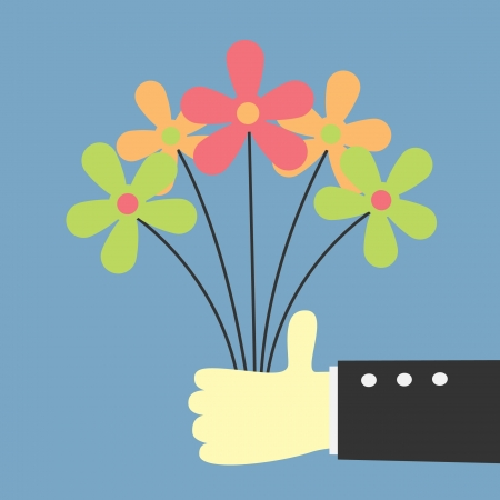 hand holding flower   giving for you  Vector