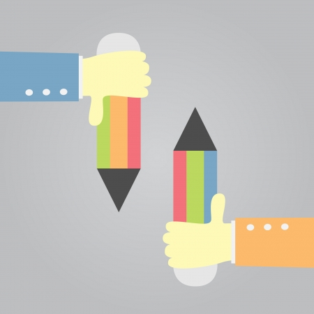hand holding a pencil  vector  Illustration
