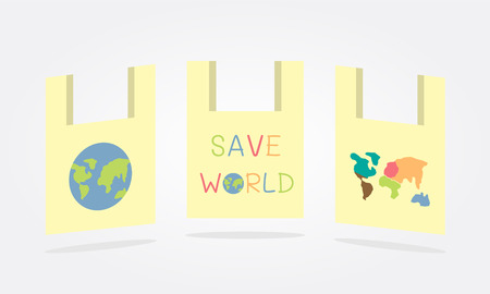 save world concept bag Vector