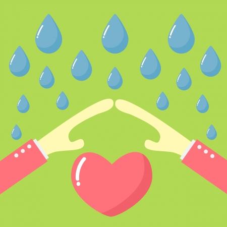 rain drop: hand protect heart with rain drop Illustration