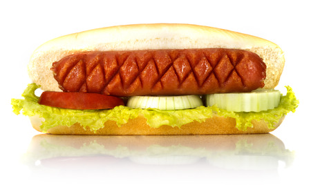 hot dog on white background with reflex photo